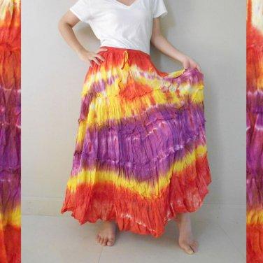 Free Shipping Tie Dye Cotton Elastic Waist Ruffle Long Maxi Summer Skirt (EL05)