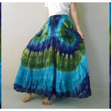 Free Shipping Boho Gypsy Tie Dye Cotton Long Maxi Summer Skirt(EL03)