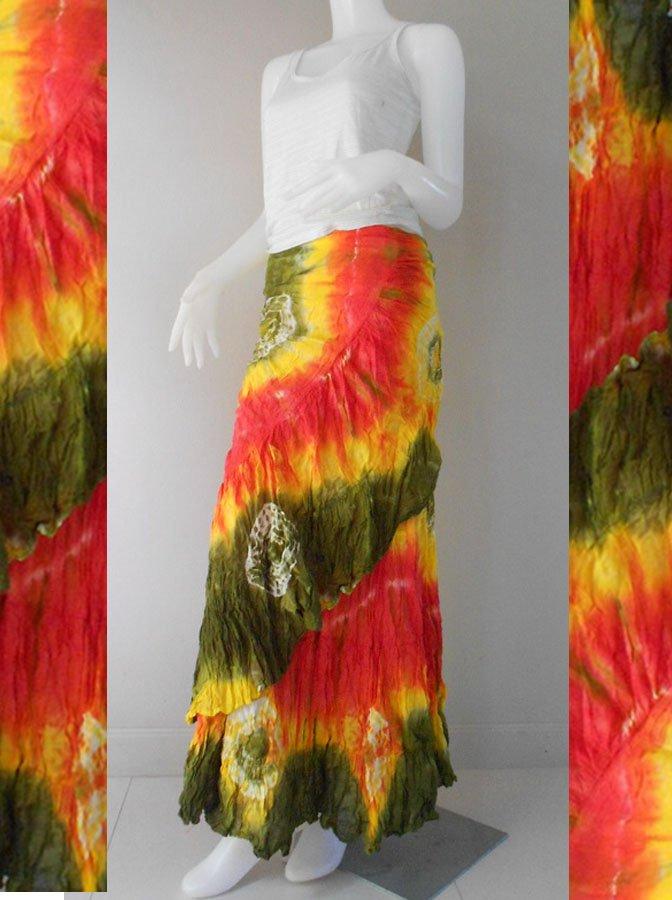 Boho hippie Thai tie dye cotton long ruffle summer casual wrap skirt S-L(TD 40)