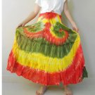 Free Shipping Hippie Gypsy Tie dye Cotton Patchwork Long Smock Skirt (05)
