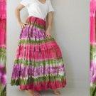 Free Shipping Hippie Gypsy Tie Dye Smock Waist Tie Dye Cotton Maxi Skirt (04)
