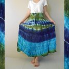 Boho Hippie Gypsy Tie Dye Cotton Multicolor Smock Waist Long Skirt (03)