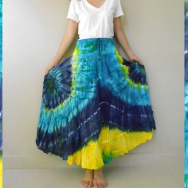 Free Shipping Hippie Gypsy Tie dye Cotton Patchwork Long Summer Smock Skirt(02)
