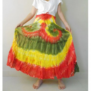 Boho Hippie Gypsy Tie Dye Cotton Long Smock Waist Skirt/Dress (01)