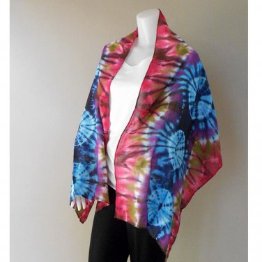 100 % Tie Dye Cotton New Blue , Red Scarf Shawl (16)