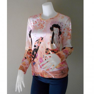Hippie Gypsy Long Sleeve Peach Color Art Print T Shirt (TS 05)