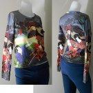 Hippie Gypsy Long Sleeve Multi Color Art Print T Shirt (TS 08)