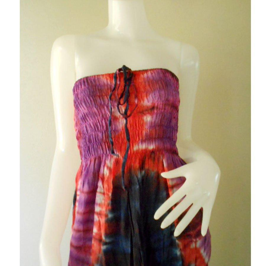 Plus size 2 in 1 Boho Hippie tie dye cotton smock dress maxi summer sundress long skirt (TD 114 )