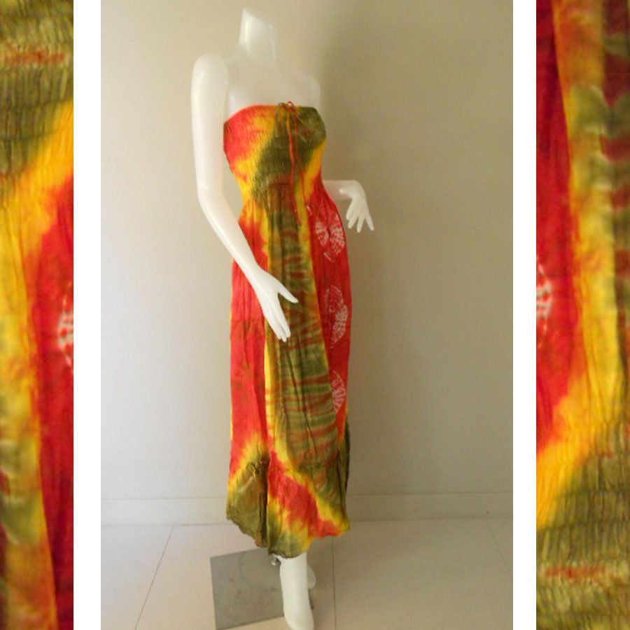 Plus size 2 in 1 Boho Hippie tie dye cotton smock dress maxi summer sundress long skirt (TD 110 )