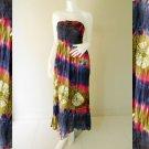 Plus size 2 in 1 Boho Hippie tie dye cotton smock dress maxi summer sundress long skirt (TD 108 )