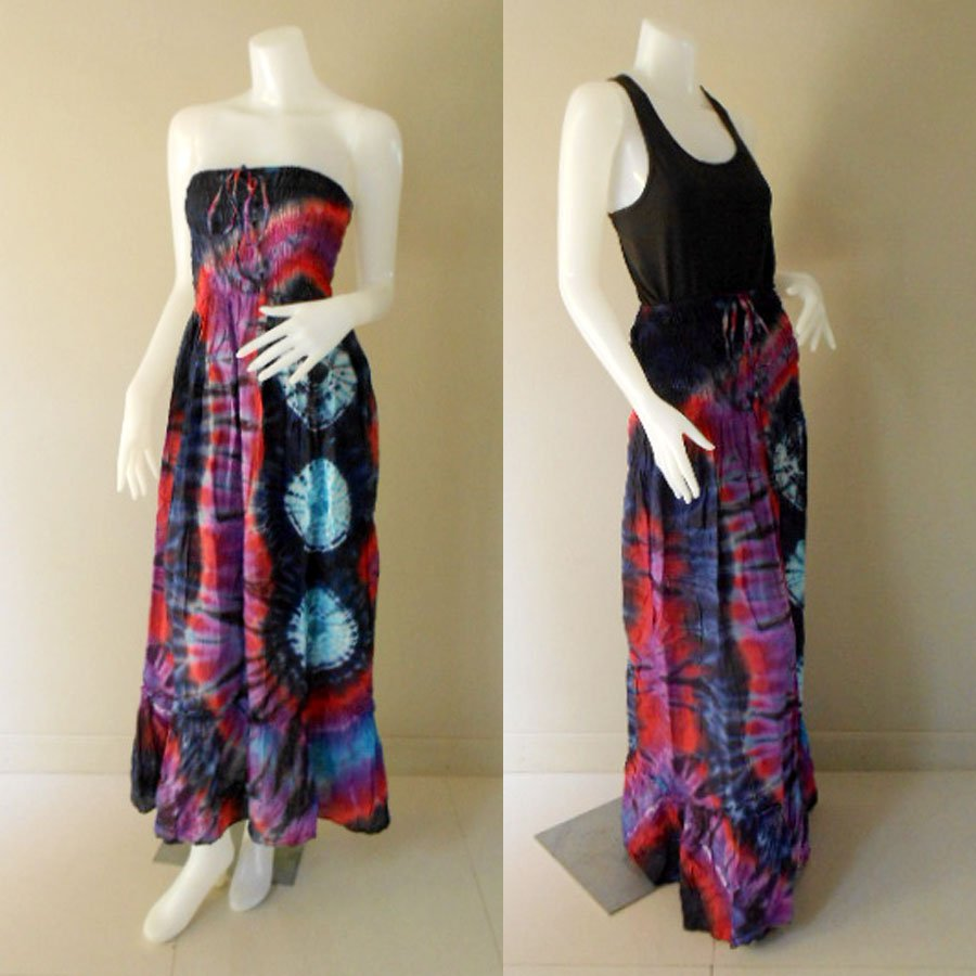 Plus size 2 in 1 Boho Hippie tie dye cotton smock dress maxi summer sundress long skirt (TD 106 )