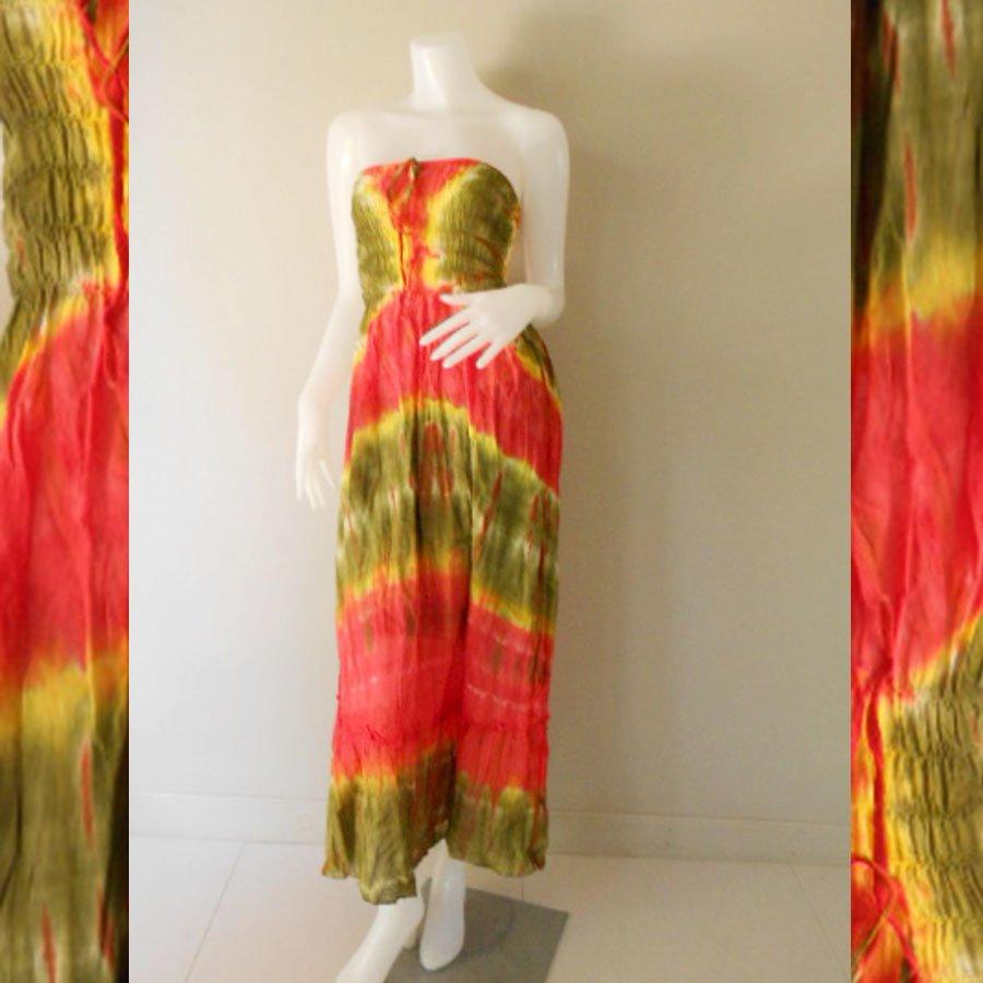 Plus size 2 in 1 Boho Hippie tie dye cotton smock dress maxi summer sundress long skirt (TD 118 )