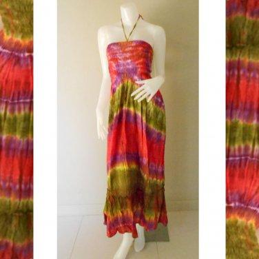 Plus size 2 in 1 Boho Hippie tie dye cotton smock dress maxi summer sundress long skirt (TD 116 )