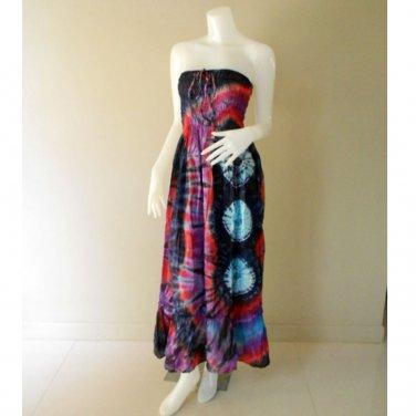 Plus size 2 in 1 Boho Hippie tie dye cotton smock dress maxi summer sundress long skirt (TD 106 )