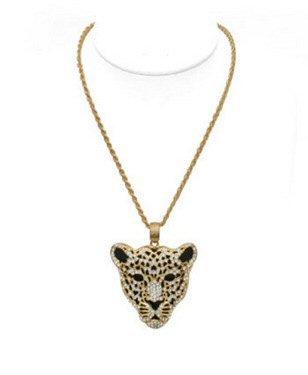 Beautiful Exotic Rhinestone Leopard Necklace w/ Chain - Item #WMS1612J-W53311
