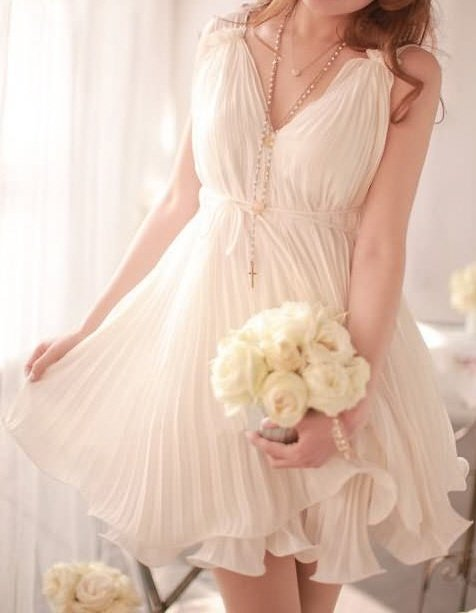 Gorgeous White Chiffon Backfin Formal Women's Dress Size Small - Item #IFWJ81269