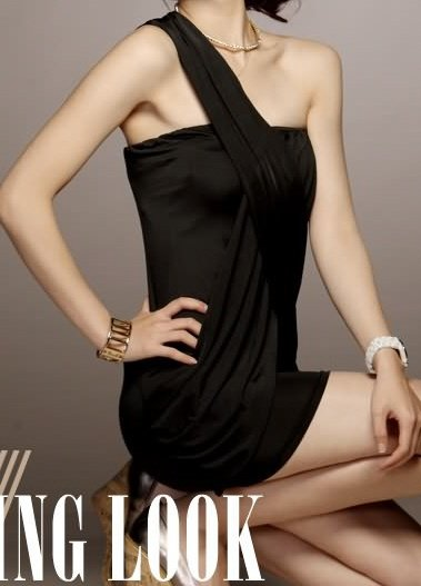 Sexy and Unique Asian Style Black Sling Dress Sz S/M - Item #IFWJ81426