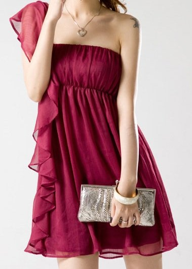 Elegant Deep Red Evening Dress, Draped Flounce and Bare Shoulder - Baby Doll Sz Small Item #IFWJ1136
