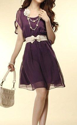 Unique Ripple Sleeves Chic Women's Fashion Dress Sz Small - Item #IFWJ81040Purple