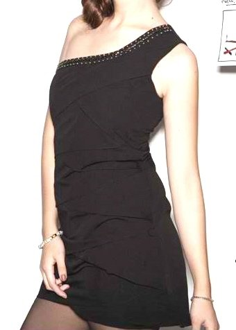 Chic Black Layered Shoulder Dress Size Small - Item #IFWDQ6878
