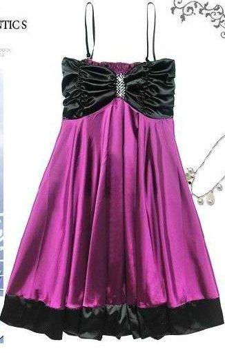 Classy Formal Silk n Satin Gathered Dress with Elegant Flare - Item #IFWJ80404