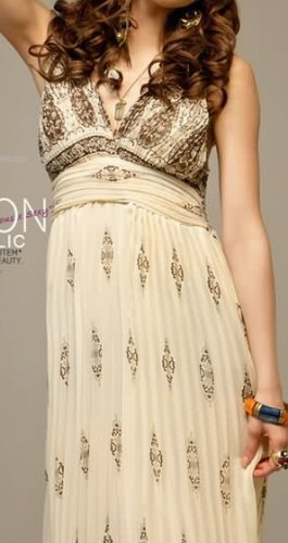 Glamorous Luxury Embroidered Chiffon Dress Spicy Apricot Sz Small - Item #IFWJ8154