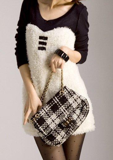 Chic Fleece Style Black and White Split Dress Sz Small - Item #IFWJ1565