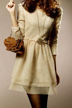 Heavenly Puckered Lace Layered Cream Dress Sz XS Extra Small - Item #IFWJ81030