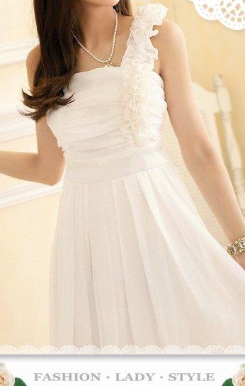 Beautiful White Evening Dress, Pleated Skirt, Off Shoulder Ruffle, Sz Small - Item #IFWJ81287