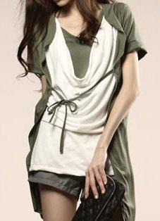 Draped 3-Piece Contemporary Army Green Women's Top, Sz Small - Item #IFWJ81508