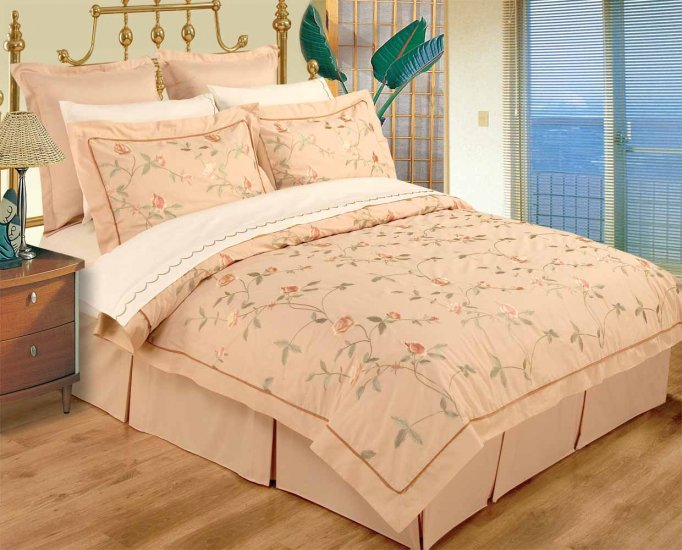 FULL / QUEEN Dark Beige  100% Embroidered Cotton Duvet Set and Sheets Set