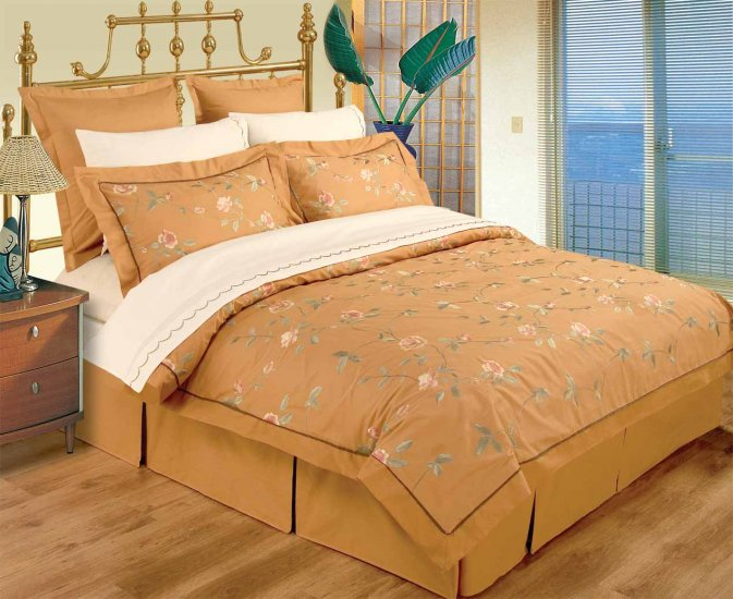 KING / CAL KING Gold  100% Embroidered Cotton Duvet Set and Sheets Set