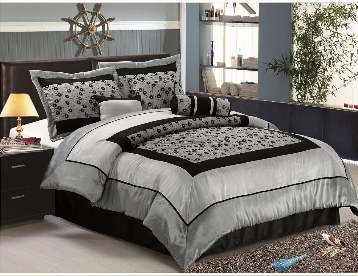 Queen Size Faux Silk Flocking Comforter Set bedding in a bag