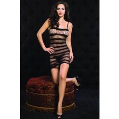 Striped Diamond Net Mini Dress