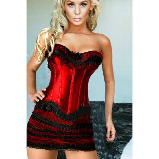 Red Lace Corset Bustier