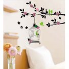 "Wall decals and vinyl wall art - Color birdcage branch Wall Decal Sticker 27 1/2""*20"""