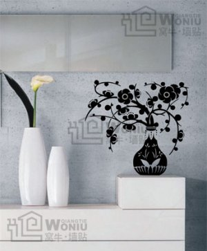 "Wall decals and vinyl wall art - flower vase wall decal sticker 22 1/2""*21 1/2"""
