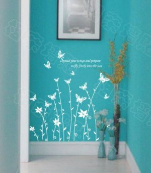 "Wall decals and vinyl wall art - butterfly grass wall decal sticker 31 1/2"" *23"""