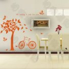 "Wall decals and vinyl wall art - tree bird bike wall decal sticker 55""*27 1/2"""