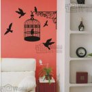 "Wall decals and vinyl wall art - bird cage decal sticker 31 1/2"" *26"""