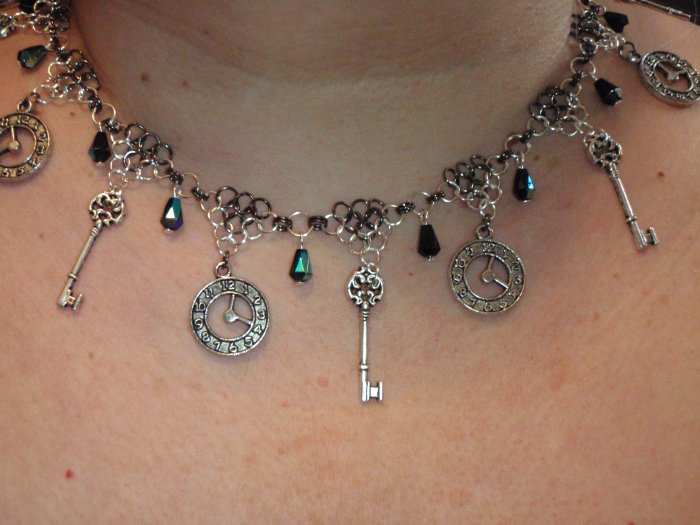 Dreams of time and keys of the ages, Steampunk Necklace