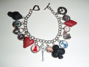 Red Queen of Wonderland, altered art charm bracelet