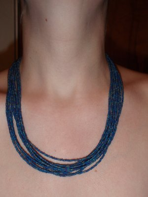 Denim shades of blue with shades of gold Multi strand necklace