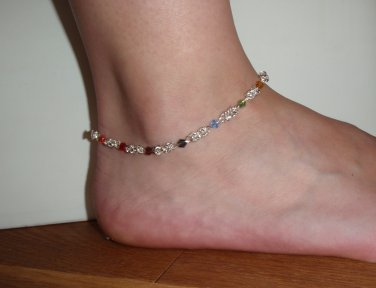 Rainbow Chakra byzantine chainmaille healing anklet