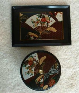 OTAGIRI Lacquer Wood VANITY SET Japan Fan Floral