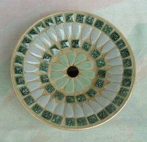 Mosaic Ashtray Round Shades of Green Vintage