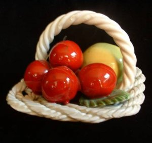 Realistic Glass Fruit Basket Cherries Lemon