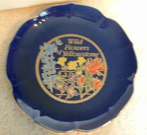 Yellowstone Plate COBALT BLUE Wildflowers Souvenir Park
