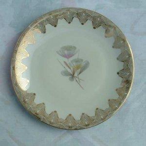 Thistles Retro Art Glass Plate Gold Gilt Vintage 7.5 Diameter