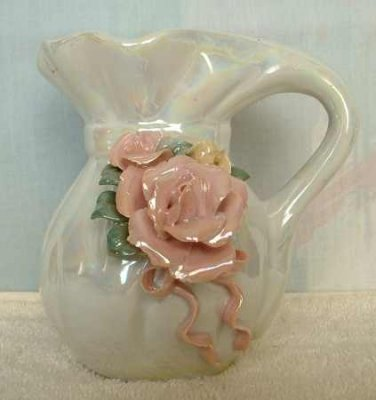 Opalescent Glass Creamer or Bud Vase Applied Rose Vintage Glassware